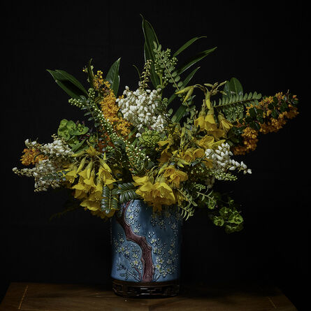 T.M. Glass, 'Yellow, White and Orange Bouquet in an Asian Vessel', 2018