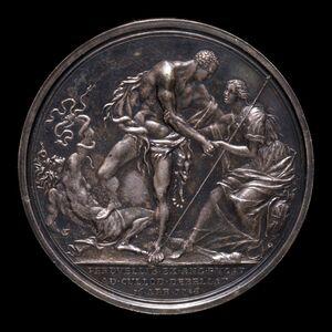 Richard Yeo, 'The Duke as Hercules, Overcoming Discord and Raising Britannia [reverse]', 1746