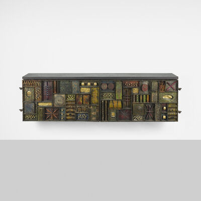 Paul Evans (1931-1987), 'Important Wall-mounted Sculpted Front Cabinet', 1971