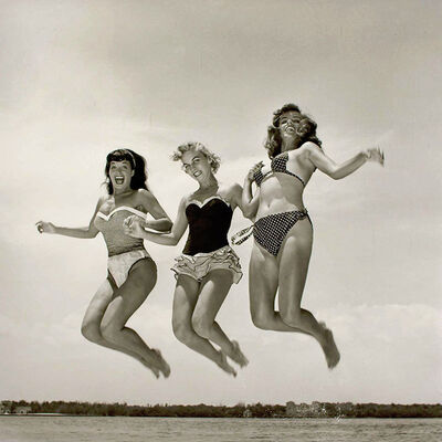 Bunny Yeager, 'Bettie Page, Carol Jean Lauritzen and Kathy Stanley Jumping (Key Biscayne, FL)', 1954
