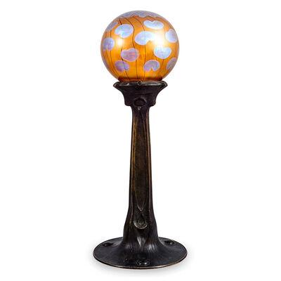 Loetz, 'Jugendstil table lamp by Loetz, Koloman Moser and Adolf Pohl ca. 1902', ca. 1902