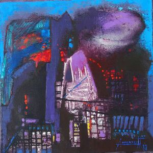 Somenath Maity, 'Structure VIII, acrylic in blue, violet & red color, abstract painting by Indian Artist Somenath Maity', 2017