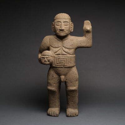 Unknown Pre-Columbian, 'Basalt Sculpture Of Standing Warrior', 500 AD to 1000 AD