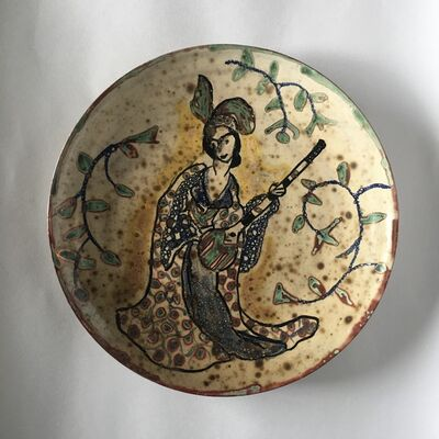 Beatrice Wood, 'Untitled Plate with Lute Player', ca. 1985