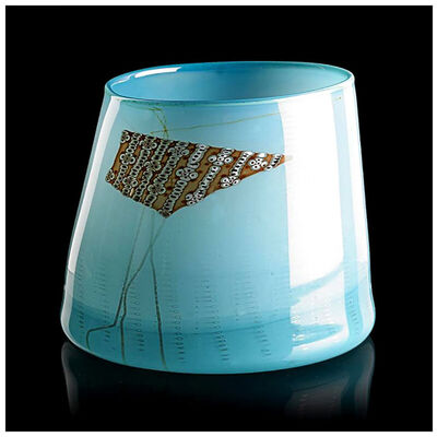 Dale Chihuly, 'Dale Chihuly Rare Original Blue Blanket Cylinder Hand Blown Glass Signed Artwork', 1980