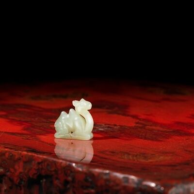 Unknown Chinese, 'A small pale celadon jade model of a recumbent camel', China: Liao dynasty [907-1125)