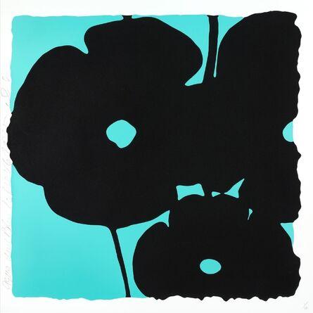 Donald Sultan, 'Reversal Poppies: Aqua and Black, November 6, 2015', 2015