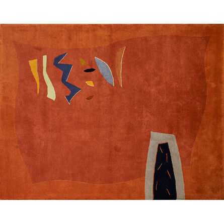 Toulemonde Bochart, 'Baby Lone limited edition wool area rug with colorful abstract geometric design on orange ground', ca. 1990s