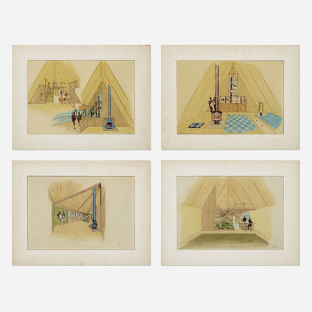 Florence Knoll, 'interior drawings (four works)', c. 1960