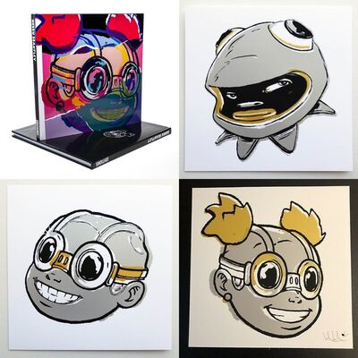 Hebru Brantley, 'Editions Deluxe Version (Book + Smile, Lilac, and Phibby Prints) (Metallic Silver & Gold Version)', 2021