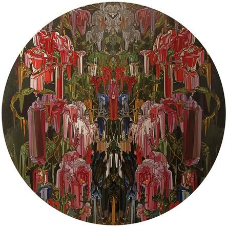 Alexis Mata, 'Ejercicio de caleidoscopio sobre orquídeas, tulipanes dalias en un jarrón de cristal', 2021