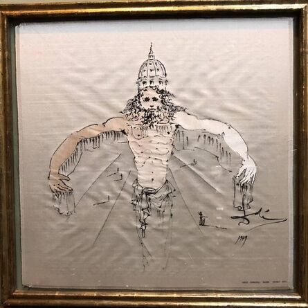 Salvador Dalí, '(after) Dali Rare Unusual Surrealist Silk Tapestry Weaving From Italy 1950', 1950-1959