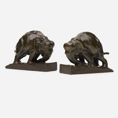 Mahonri MacIntosh Young, 'elephant bookends, pair', c. 1913