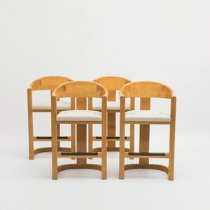 """Karl Springer, 'Set of Four """"Jackie O"""" Barstools', ca. 1980"""