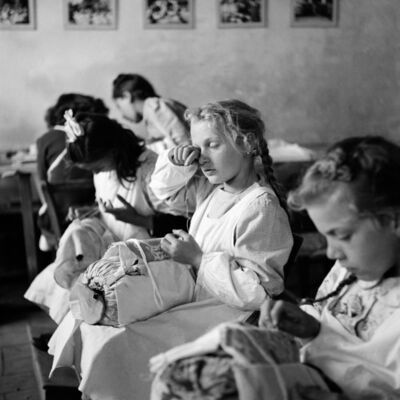 """Tony Vaccaro, '""""Tired Eyes"""". Orphans in a sewing class, Trieste, Italy, 1947 ', 1947"""