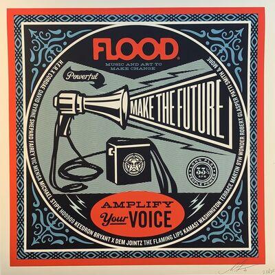 Shepard Fairey, ' Shepard Fairey Obey Giant Flood Magazine Print Music Amplify Your Voice Politics', 2020