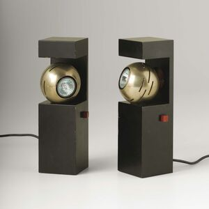 Angelo Lelli, 'A pair of Contrast table lamps with a lacquered brass structure and a chromed steel magnet diffuser', 1960 ca.