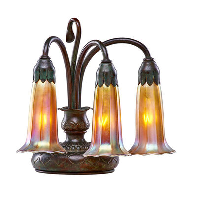 Tiffany Studios, 'Three-light Lily table lamp with Quezal shades, New York', early 20th C.