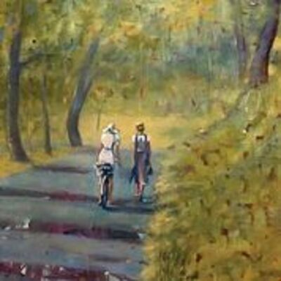Barbara Able, 'A Walk in the Park - Figures in Landscape', 2020