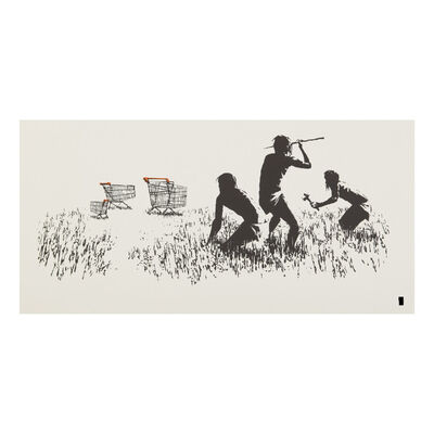 Banksy, 'Trolley Hunters (White), (Signed)', 2007