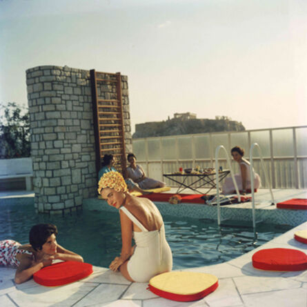 Slim Aarons, 'Penthouse Pool, 1961: Young women by the Canellopoulos penthouse pool, Athens', 1961