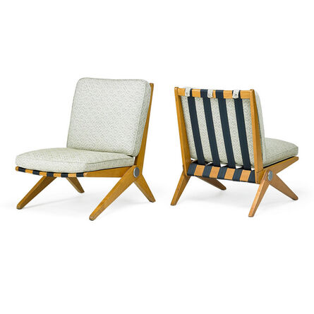 Pierre Jeanneret, 'Pair of Scissor lounge chairs, New York', 1950s