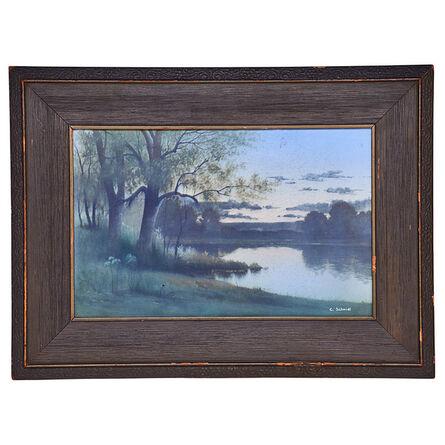 """Carl Schmidt, 'Fine large Scenic Vellum plaque, """"Sunset on the River,"""" Cincinnati, OH', 1914"""