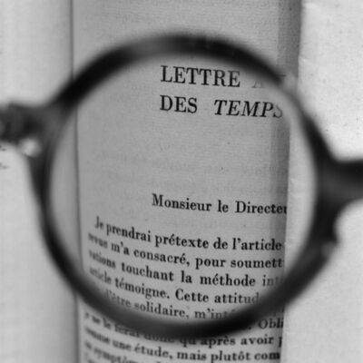 Tomoko Yoneda, 'Sartre's glasses - Viewing a letter by Albert Camus addressed to Sartre when he was the director of Les Temps Modernes', 2018