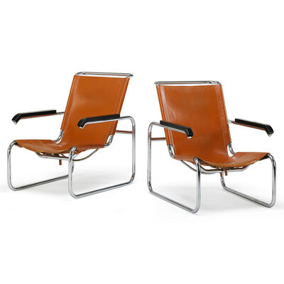 Marcel Breuer, 'Pair of B-35 lounge chairs', 1960s