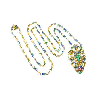 Tiffany & Company, 'Antique gold, enamel, coloured diamond and vari-coloured gem pendant necklace by Louis Comfort Tiffany, c.1910, Tiffany & Co.', ca. 1910