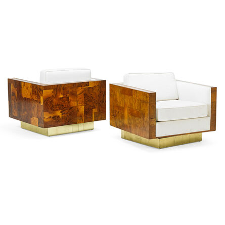 Paul Evans (1931-1987), 'Pair Of Cityscape Swivel Lounge Chairs, USA', 1970s