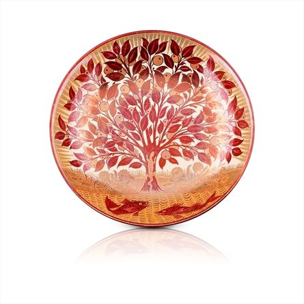 William De Morgan, 'Red Lustre Charger decorated with a Lizard climbing an Orange Tree', ca. 1885