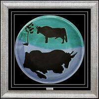 Pablo Picasso, 'PABLO PICASSO Original MADOURA CERAMIC Plate Authentic Artwork Plein Feu Toros', 1950-1969