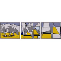 Roy Lichtenstein, 'Cow Going Abstract - Triptych', 1982