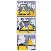 Roy Lichtenstein, 'Cow Going Abstract - Triptyque', 1982