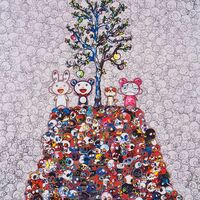 Takashi Murakami, 'Kaikai, Kiki, DOB, and POM atop the Mound of the Dead', 2013