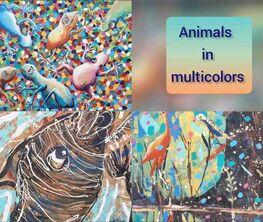 Animals in multicolors