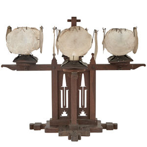 """Charles Rohlfs, 'Arts and Crafts Oak and Copper Four-Light """"Banquet"""" Candelabrum with Kappa Shell Shades', 1903"""