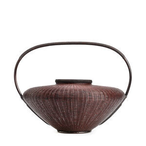 "Tanabe Chikuunsai II, 'Pot Style Flower Basket with Handle ""Fuki"" 17 1240', 1910-2000"