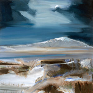 Simon Andrew, 'Moon and Mountain - moonlit landscape with strokes of sienna, indigo and white', 2016
