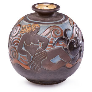 Joseph Mougin, 'Art Deco Vase With Nudes And Fish, France', 1920s-30s