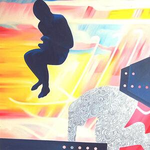 Murli Cheeroth, 'City life, figurative, oil in blue, yellow, red, black, white by Contemporary Indian Artist Murli Cheeroth', 2008