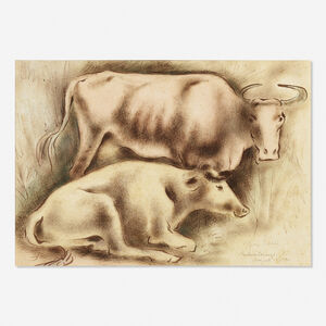 George Biddle, 'Untitled (two cows)', 1940
