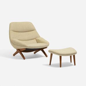 Illum Wikkelsø, 'Lounge Chair, Model 91 And Ottoman', c. 1959