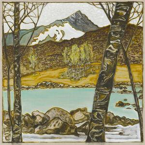Billy Childish, 'Birches across stream', 2017
