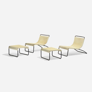 VKG, 'Pair of Lounge Chairs, Model 801 And Ottomans, Model 800', c.1960