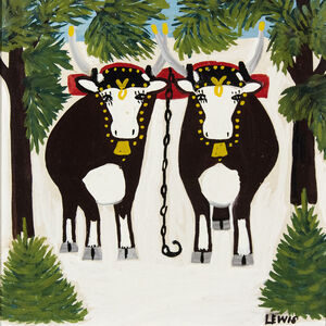 Maud Lewis, 'Two Oxen in Winter with Three Legs'