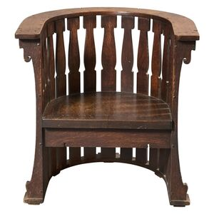 Charles Rohlfs, 'Arts and Crafts Carved Oak Barrel Chair', 1902