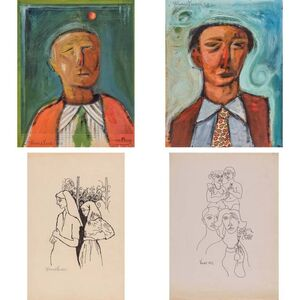 Ahmed Parvez, '(i) Untitled, Green Tie; (ii) Untitled, Paisley Tie; (iii) Untitled, Two Women; (iv) Untitled, Figures'