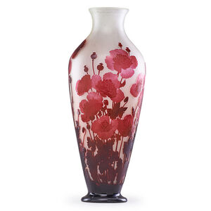 Galle, 'Massive vase with poppies, France', early 20th C.